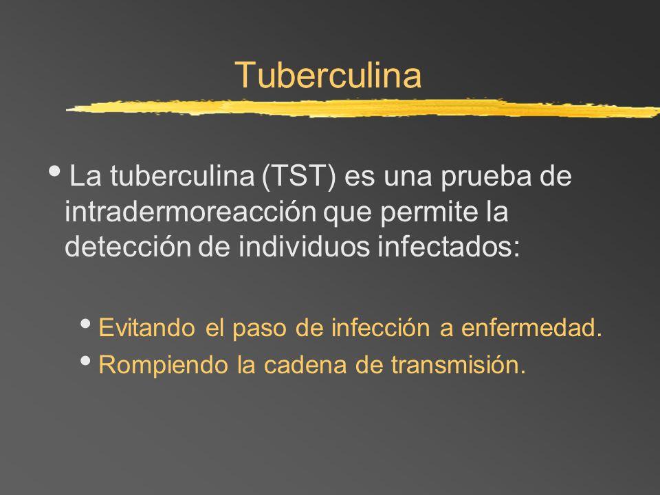 Tuberculina La tuberculina (TST) es una prueba de intradermoreacción que permite la detección de individuos infectados: