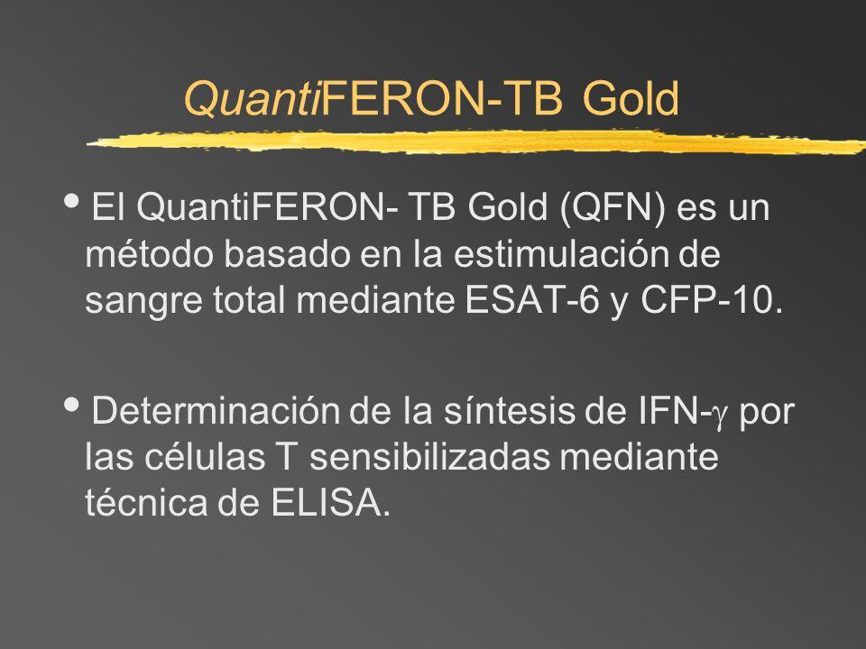 QuantiFERON-TB GoldEl QuantiFERON- TB Gold (QFN) es un método basado en la estimulación de sangre total mediante ESAT-6 y CFP-10.