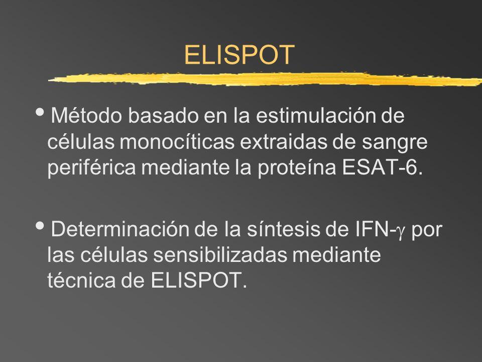 ELISPOT Método basado en la estimulación de células monocíticas extraidas de sangre periférica mediante la proteína ESAT-6.