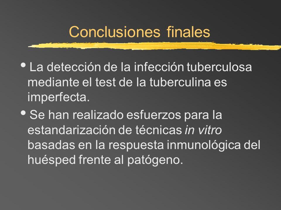 Conclusiones finalesLa detección de la infección tuberculosa mediante el test de la tuberculina es imperfecta.