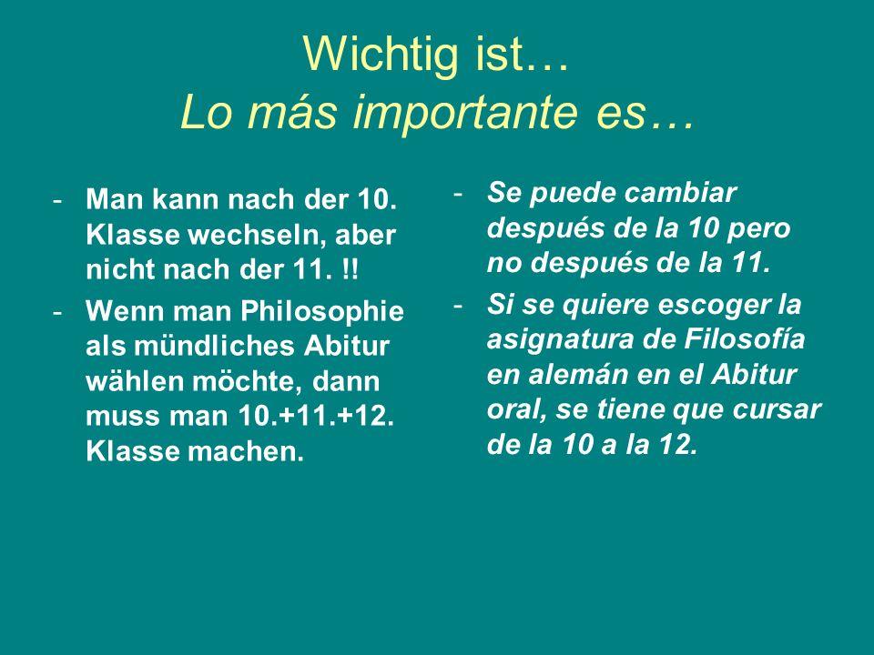 Wichtig ist… Lo más importante es…