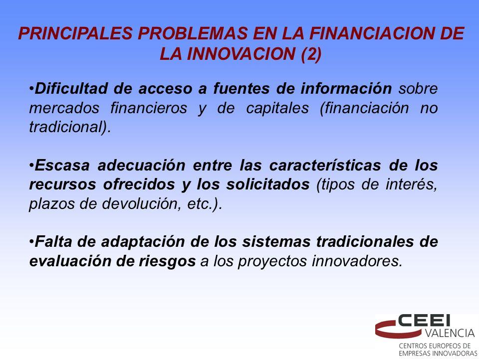 PRINCIPALES PROBLEMAS EN LA FINANCIACION DE LA INNOVACION (2)