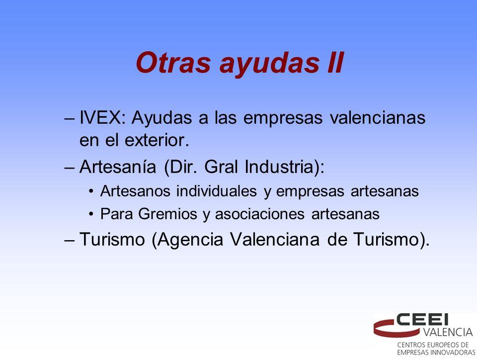 Otras ayudas II IVEX: Ayudas a las empresas valencianas en el exterior. Artesanía (Dir. Gral Industria):