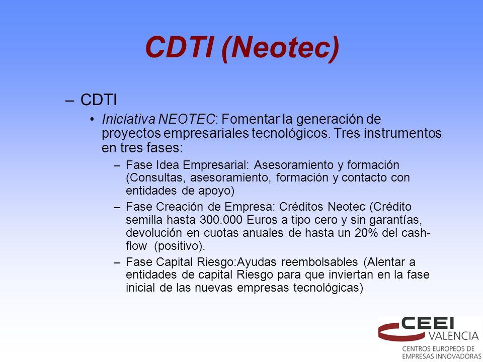 CDTI (Neotec) CDTI. Iniciativa NEOTEC: Fomentar la generación de proyectos empresariales tecnológicos. Tres instrumentos en tres fases: