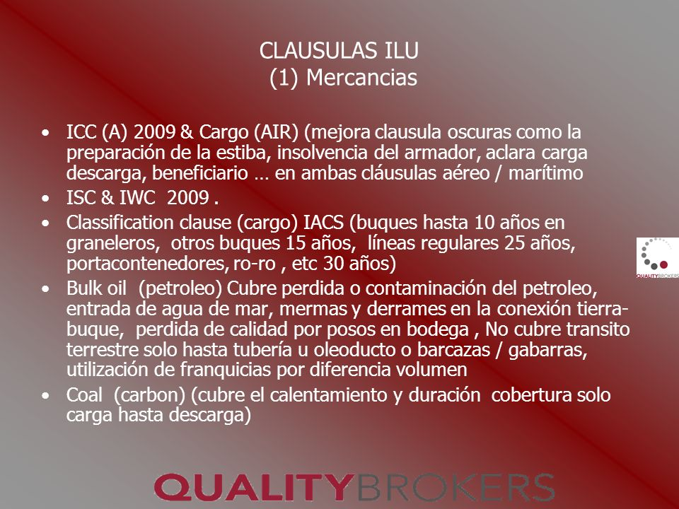 CLAUSULAS ILU (1) Mercancias