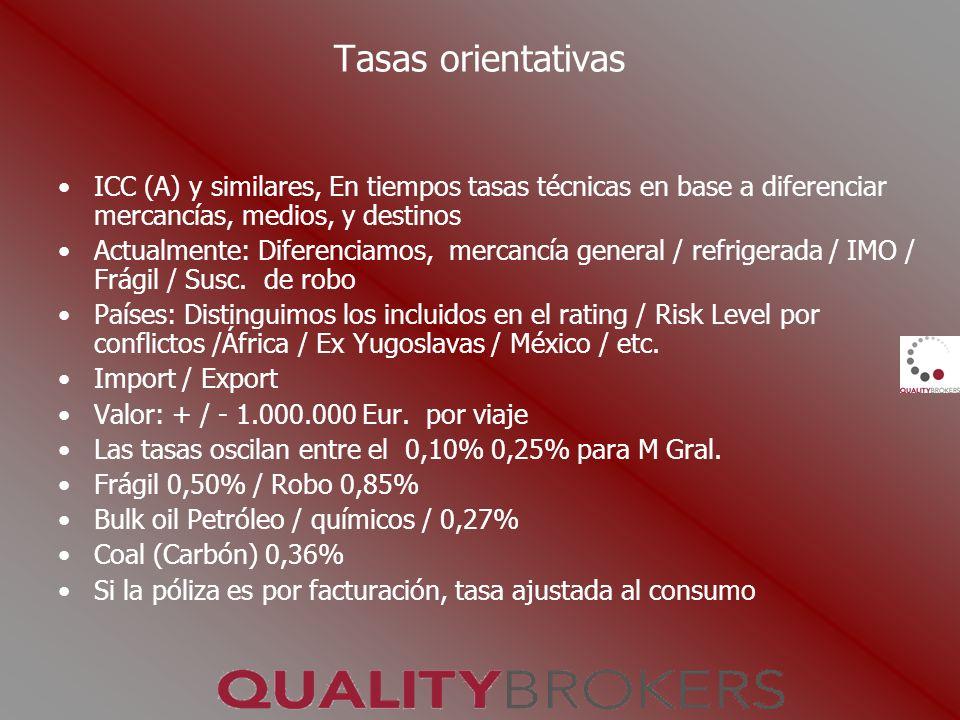 Tasas orientativasICC (A) y similares, En tiempos tasas técnicas en base a diferenciar mercancías, medios, y destinos.