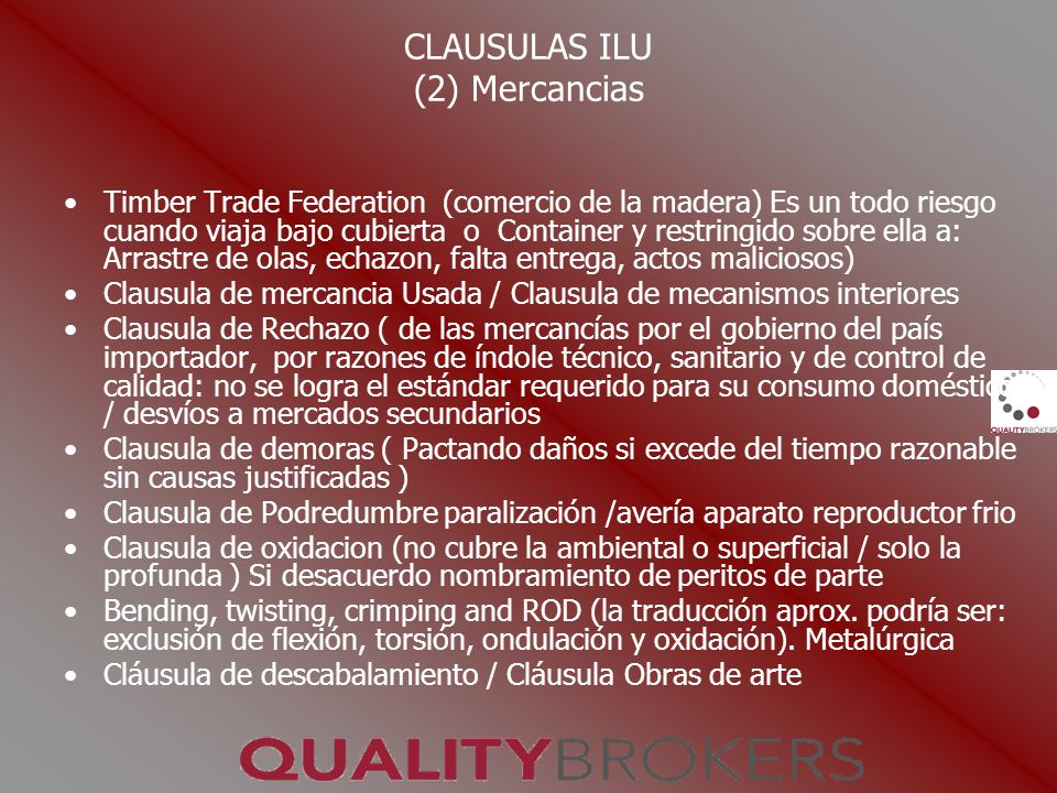 CLAUSULAS ILU (2) Mercancias