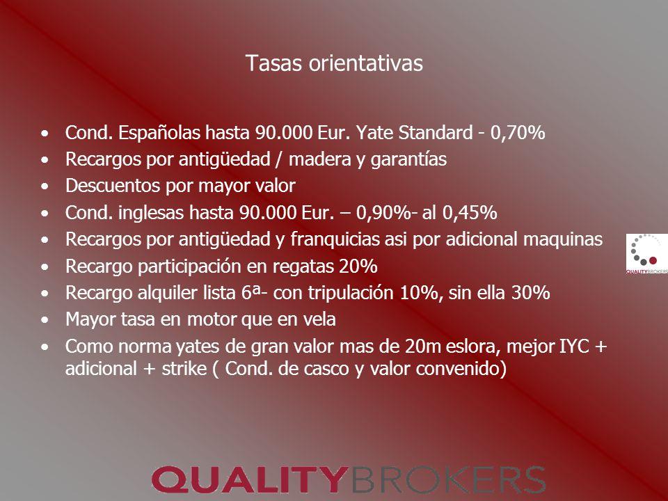 Tasas orientativas Cond. Españolas hasta 90.000 Eur. Yate Standard - 0,70% Recargos por antigüedad / madera y garantías.