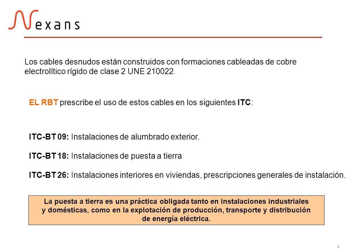 EL RBT prescribe el uso de estos cables en los siguientes ITC: