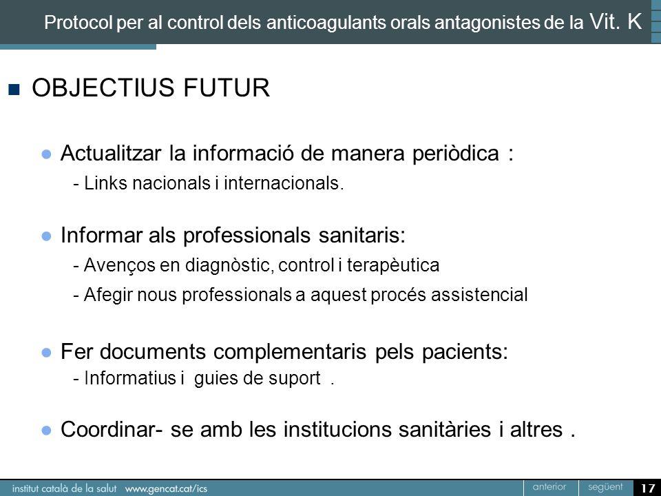OBJECTIUS FUTUR Actualitzar la informació de manera periòdica :