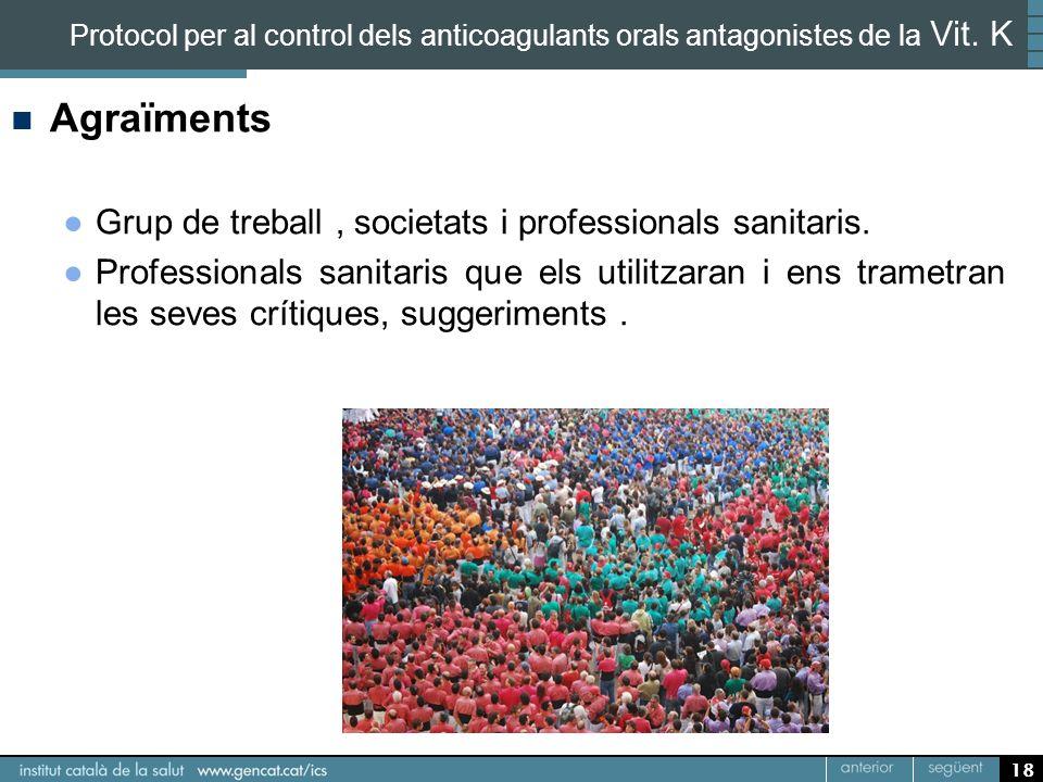 Agraïments Grup de treball , societats i professionals sanitaris.