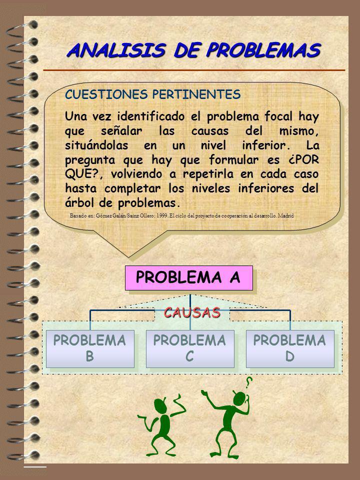 ANALISIS DE PROBLEMAS PROBLEMA A CAUSAS PROBLEMA B PROBLEMA C