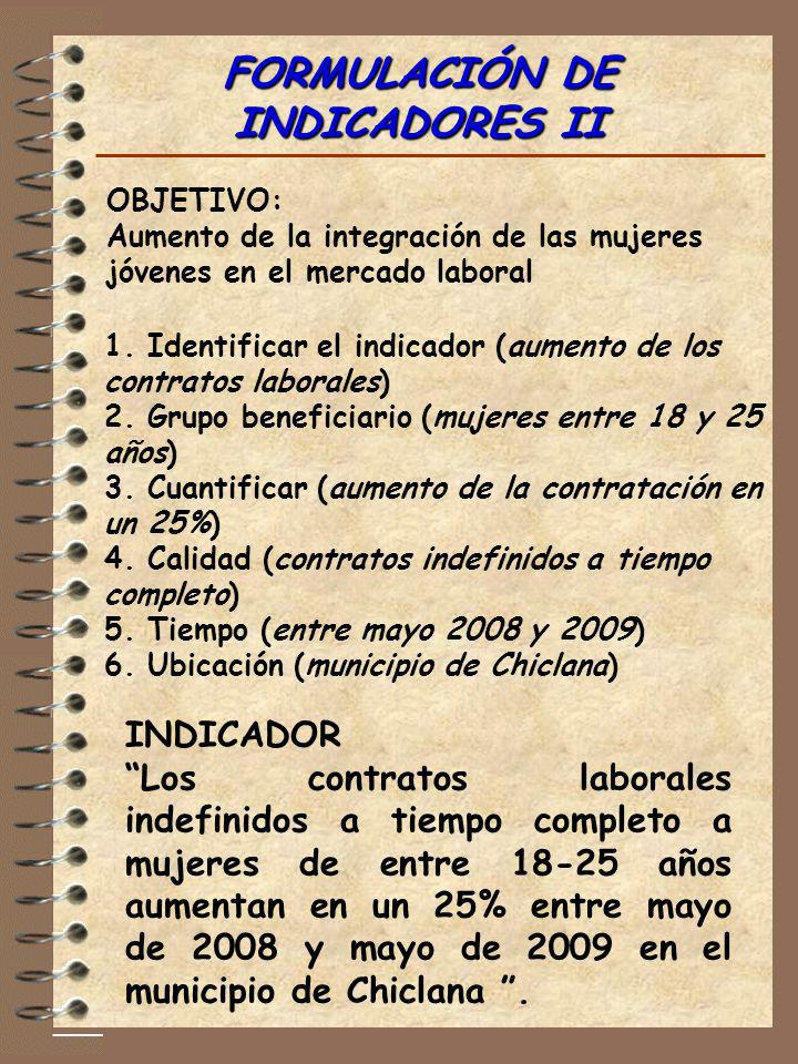 FORMULACIÓN DE INDICADORES II