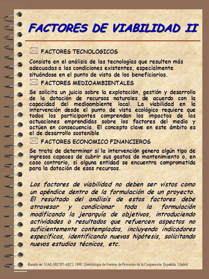 FACTORES DE VIABILIDAD II