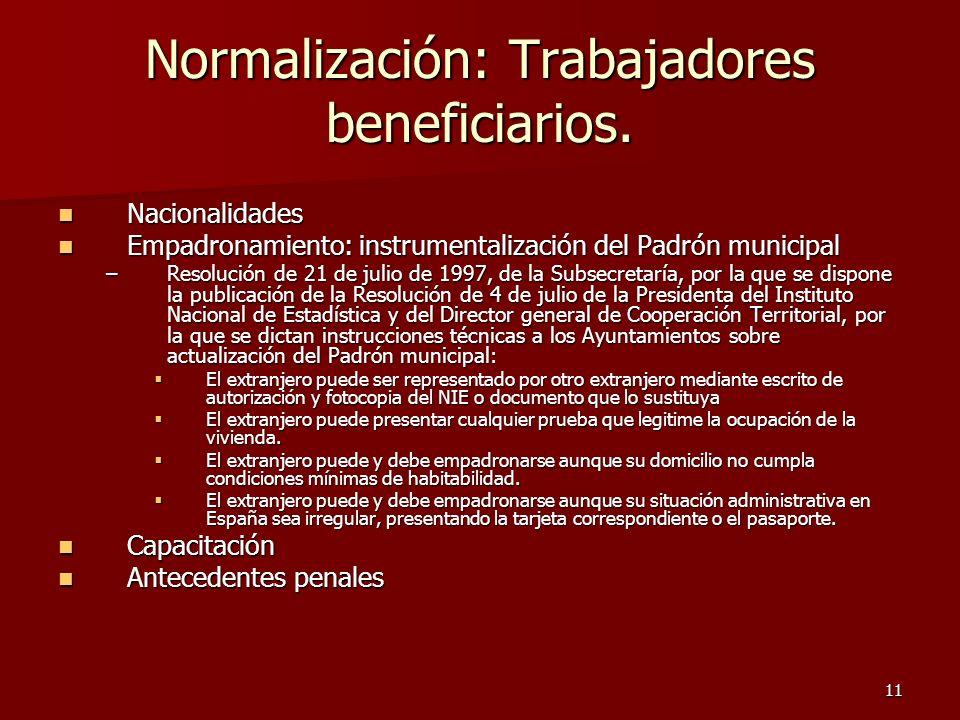 Normalización: Trabajadores beneficiarios.