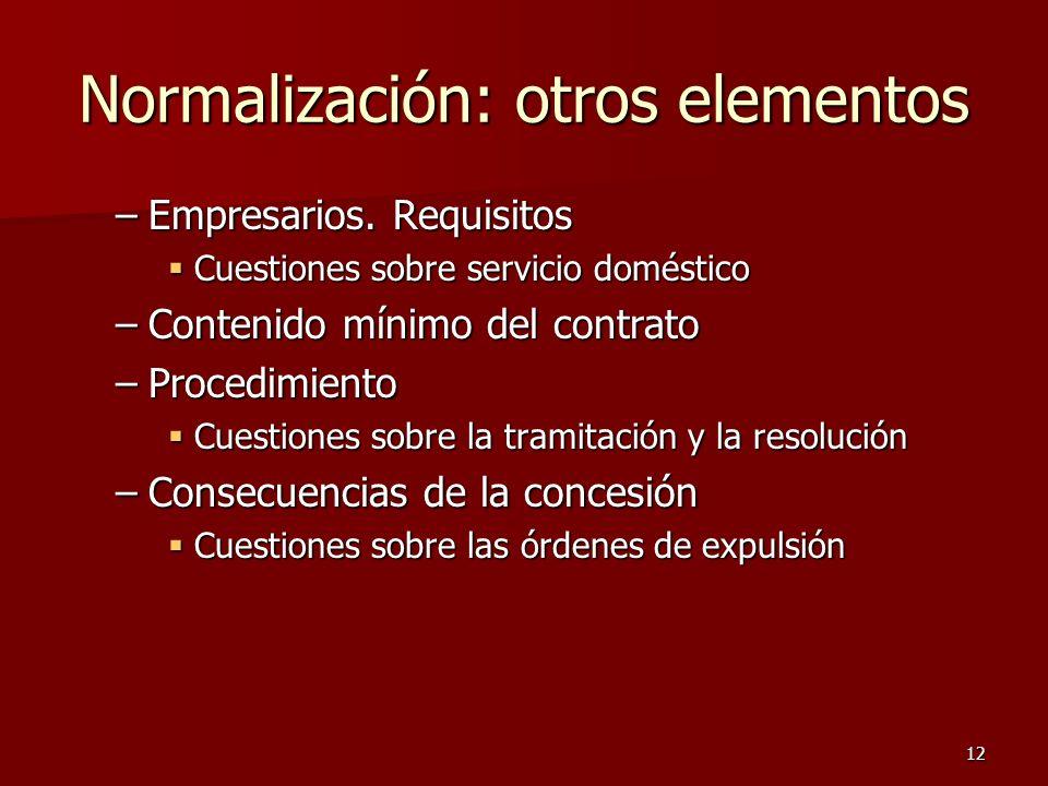 Normalización: otros elementos
