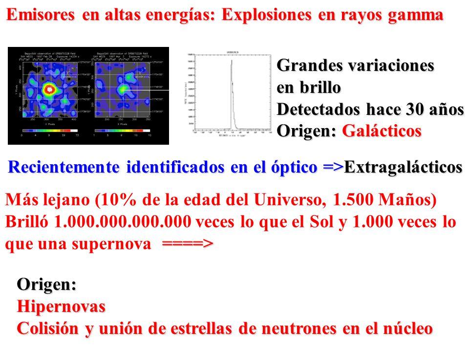 Emisores en altas energías: Explosiones en rayos gamma
