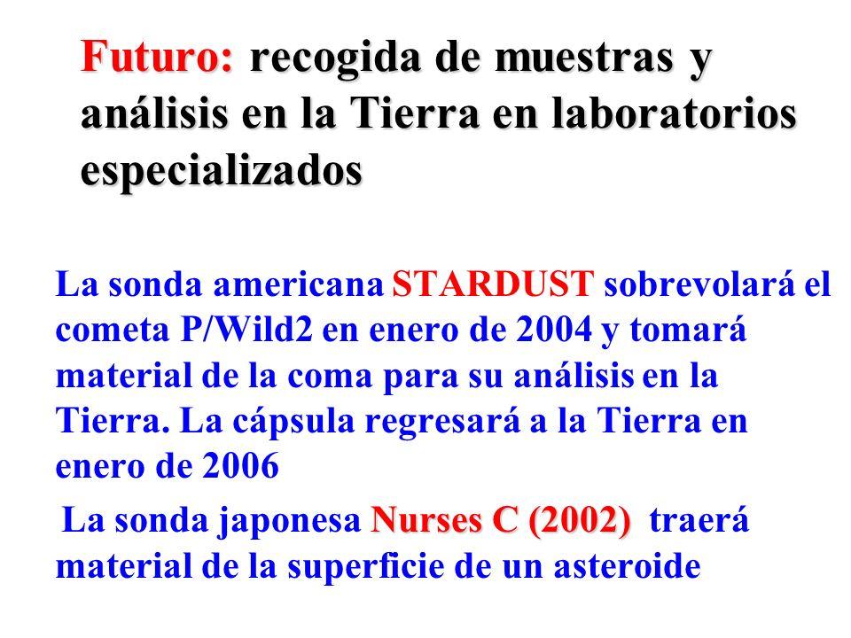 Futuro: recogida de muestras y análisis en la Tierra en laboratorios especializados