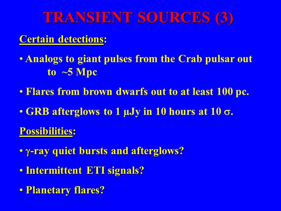 TRANSIENT SOURCES (3) Certain detections: