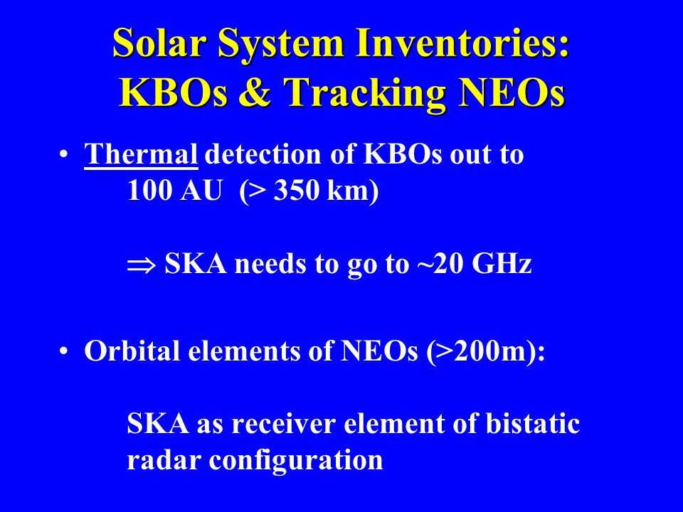 Solar System Inventories: KBOs & Tracking NEOs