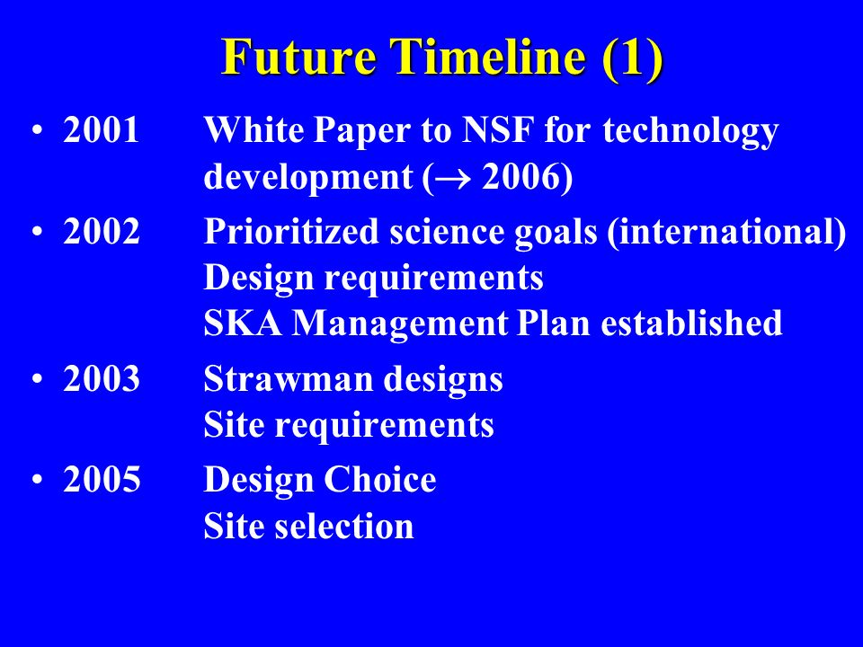 Future Timeline (1)2001 White Paper to NSF for technology development ( 2006)