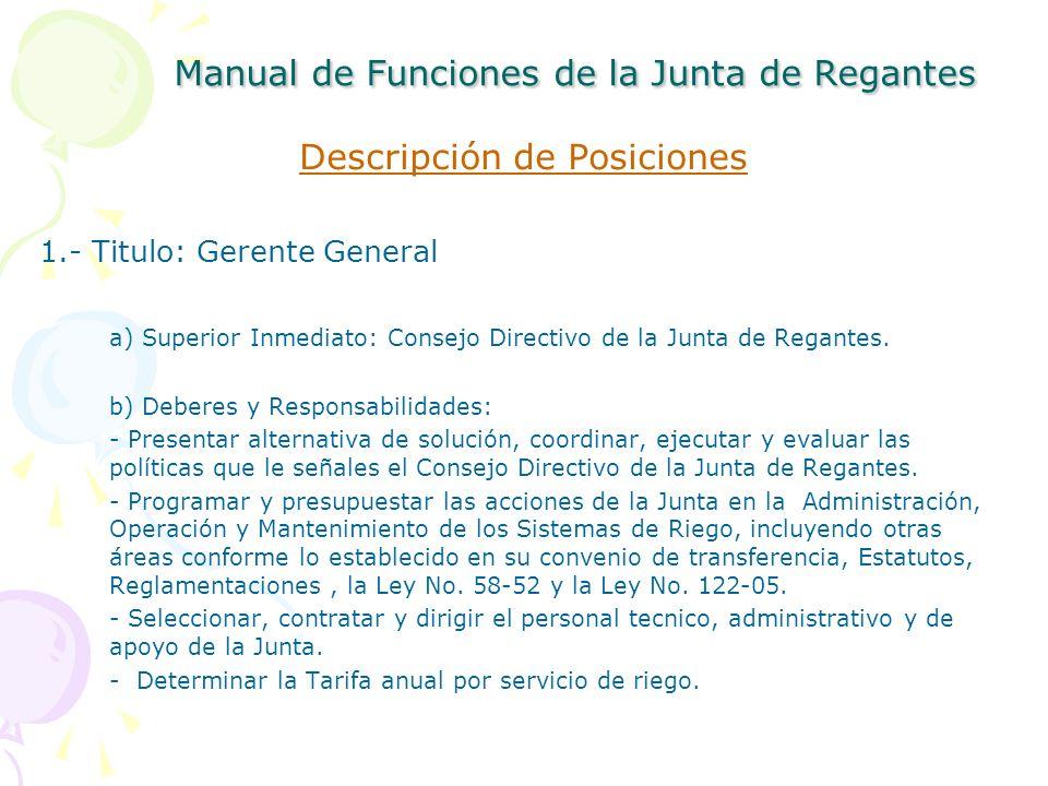 Manual de Funciones de la Junta de Regantes