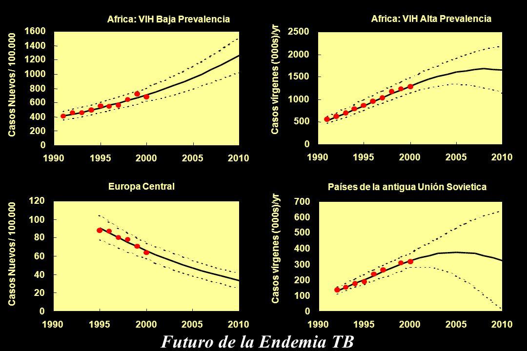 Futuro de la Endemia TB Africa: VIH Baja Prevalencia 200 400 600 800