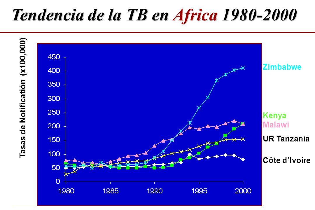 Tendencia de la TB en Africa 1980-2000