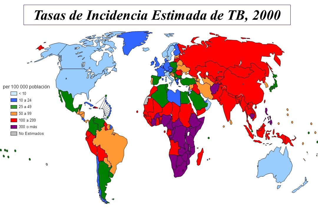 Tasas de Incidencia Estimada de TB, 2000
