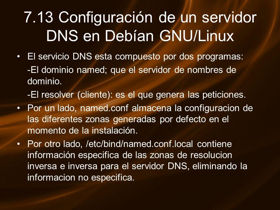 7.13 Configuración de un servidor DNS en Debían GNU/Linux