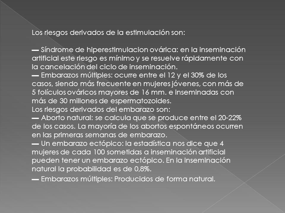 Los riesgos derivados de la estimulación son: