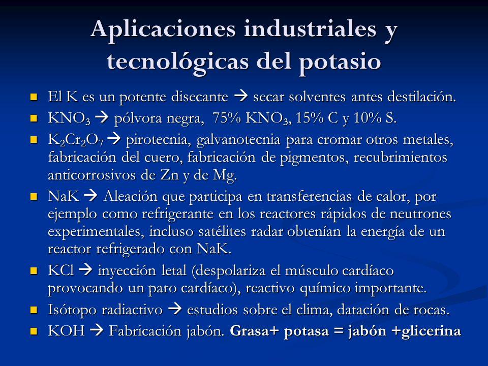 Aplicaciones industriales y tecnológicas del potasio
