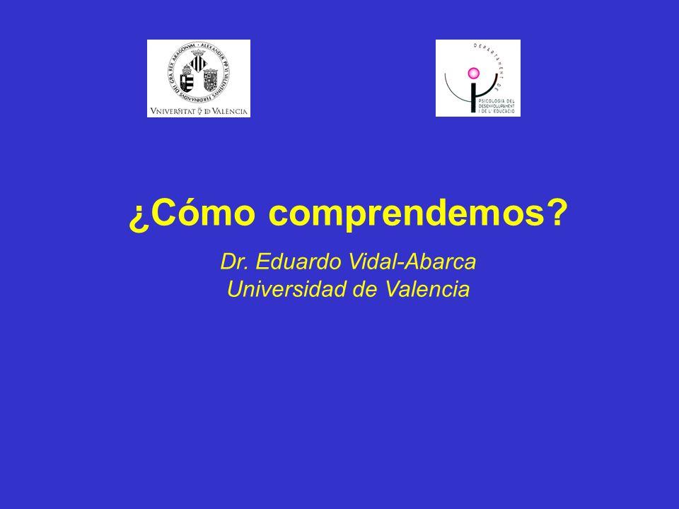 ¿Cómo comprendemos Dr. Eduardo Vidal-Abarca Universidad de Valencia