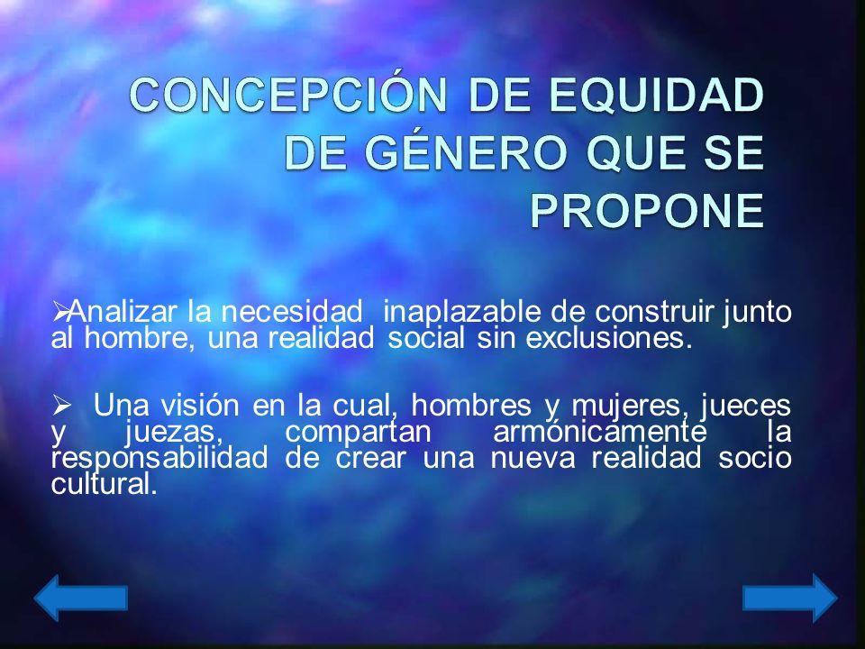 CONCEPCIÓN DE EQUIDAD DE GÉNERO QUE SE PROPONE