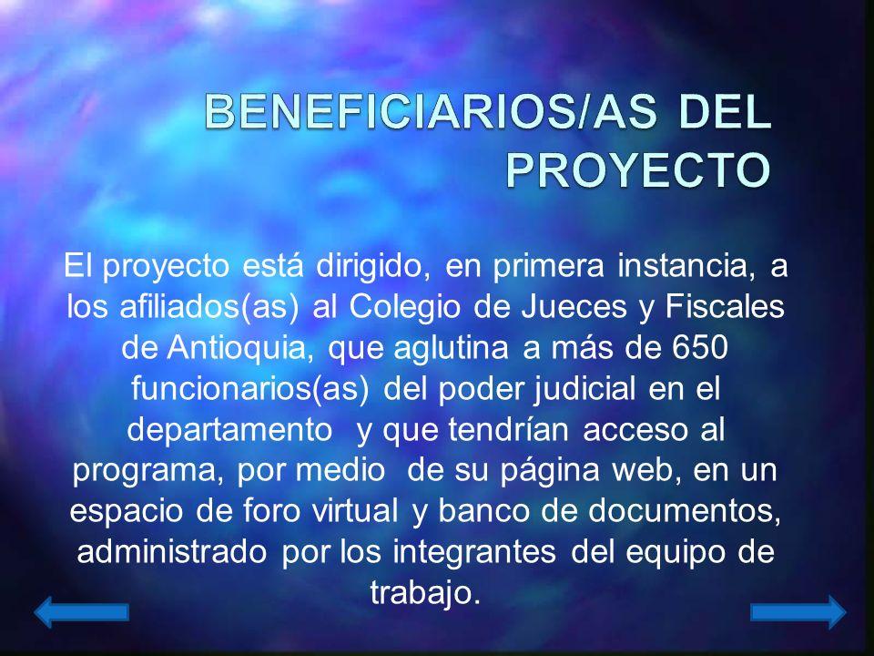 BENEFICIARIOS/AS DEL PROYECTO