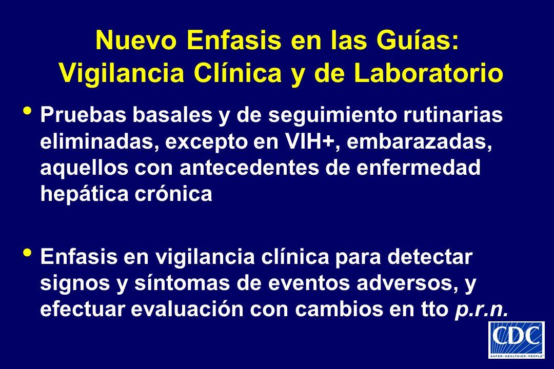 Nuevo Enfasis en las Guías: Vigilancia Clínica y de Laboratorio