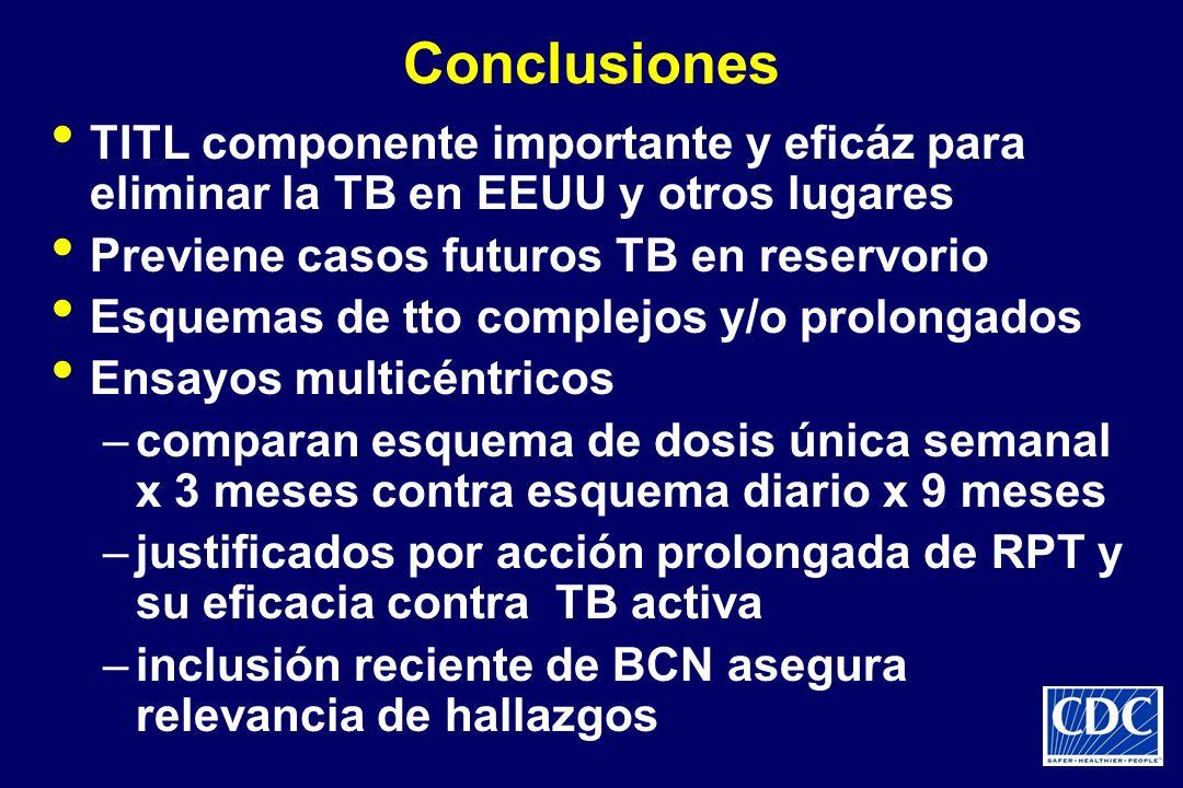 Conclusiones TITL componente importante y eficáz para eliminar la TB en EEUU y otros lugares. Previene casos futuros TB en reservorio.