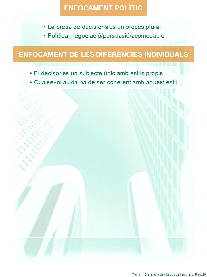ENFOCAMENT DE LES DIFERÈNCIES INDIVIDUALS