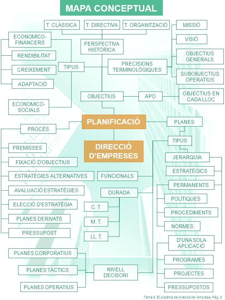 MAPA CONCEPTUAL PLANIFICACIÓ DIRECCIÓ D'EMPRESES 3 T. CLÀSSICA