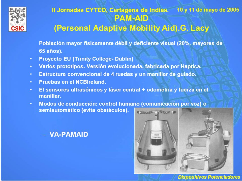 PAM-AID (Personal Adaptive Mobility Aid).G. Lacy