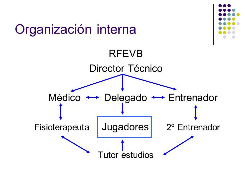 Organización interna RFEVB Director Técnico Médico Delegado Entrenador