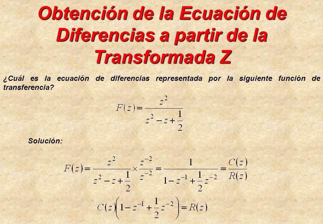 Obtención de la Ecuación de Diferencias a partir de la Transformada Z