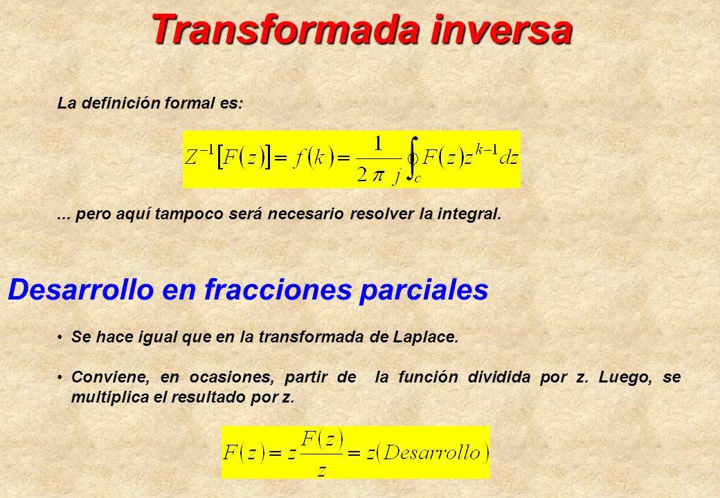 Transformada inversa Desarrollo en fracciones parciales