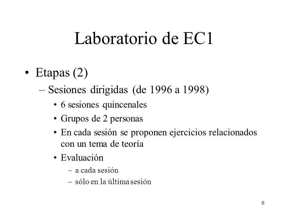 Laboratorio de EC1 Etapas (2) Sesiones dirigidas (de 1996 a 1998)