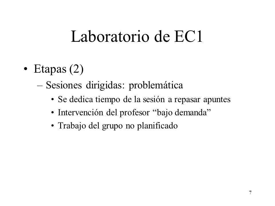 Laboratorio de EC1 Etapas (2) Sesiones dirigidas: problemática