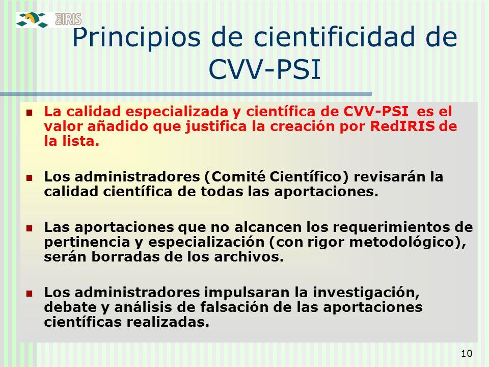 Principios de cientificidad de CVV-PSI