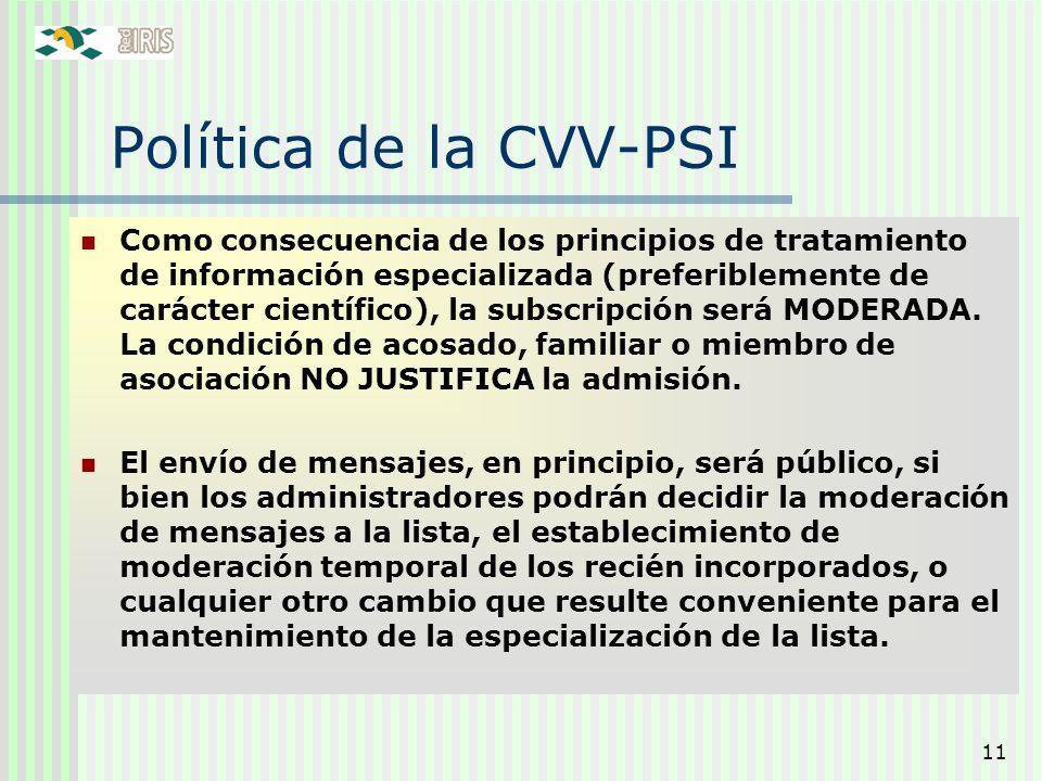 Política de la CVV-PSI