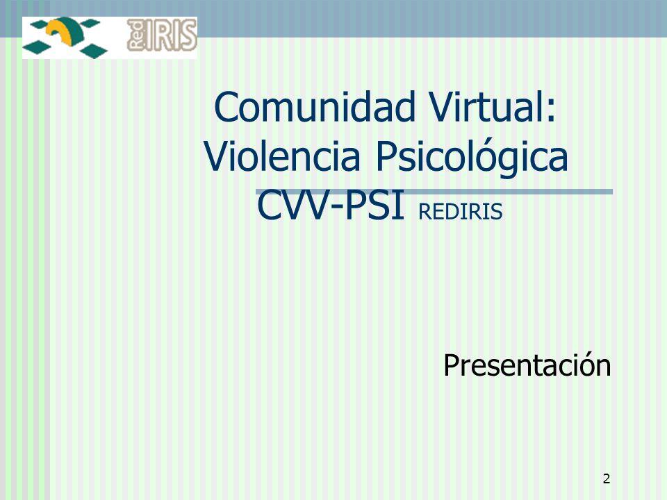 Comunidad Virtual: Violencia Psicológica CVV-PSI REDIRIS