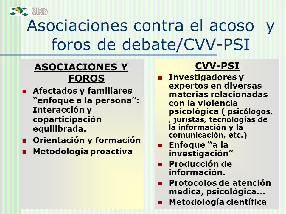 Asociaciones contra el acoso y foros de debate/CVV-PSI