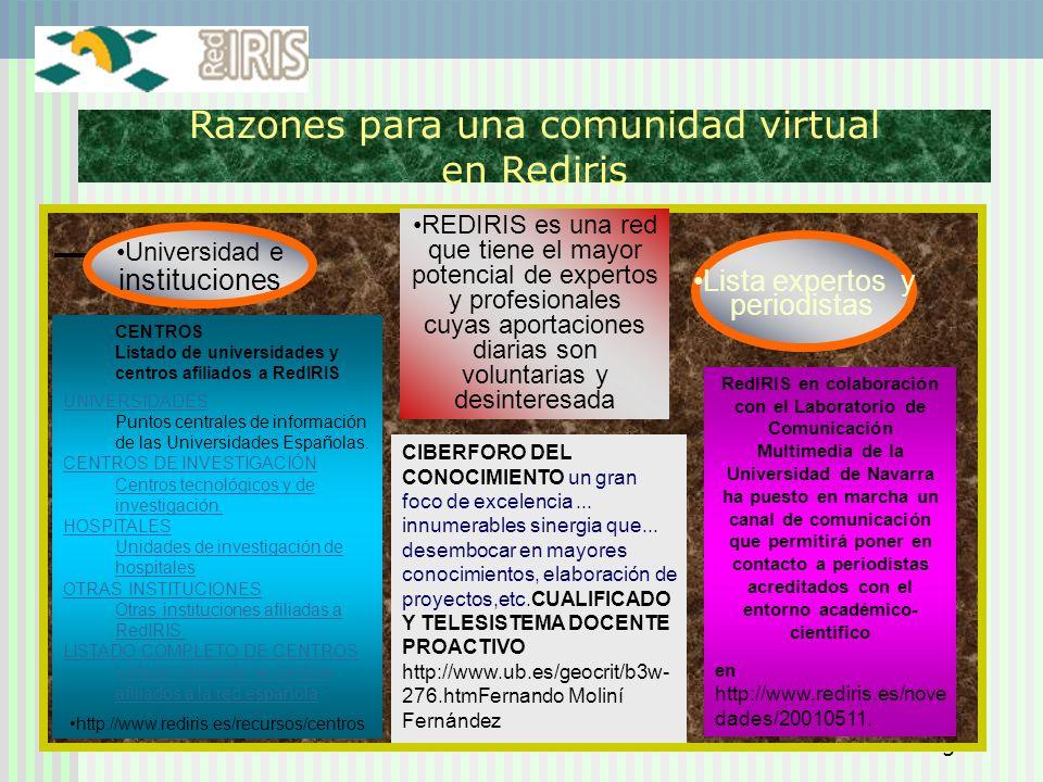 Razones para una comunidad virtual en Rediris